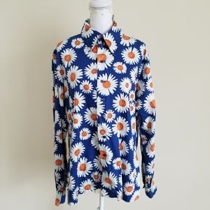 Vintage Handmade Blue White Floral Button Up Shirt